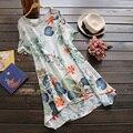 2017 Лето Dress Женщины Ретро Цветочный Принт Свободные Dress Short Sleeve T-Shirts Dress Сыпучих женщин Mini Dress