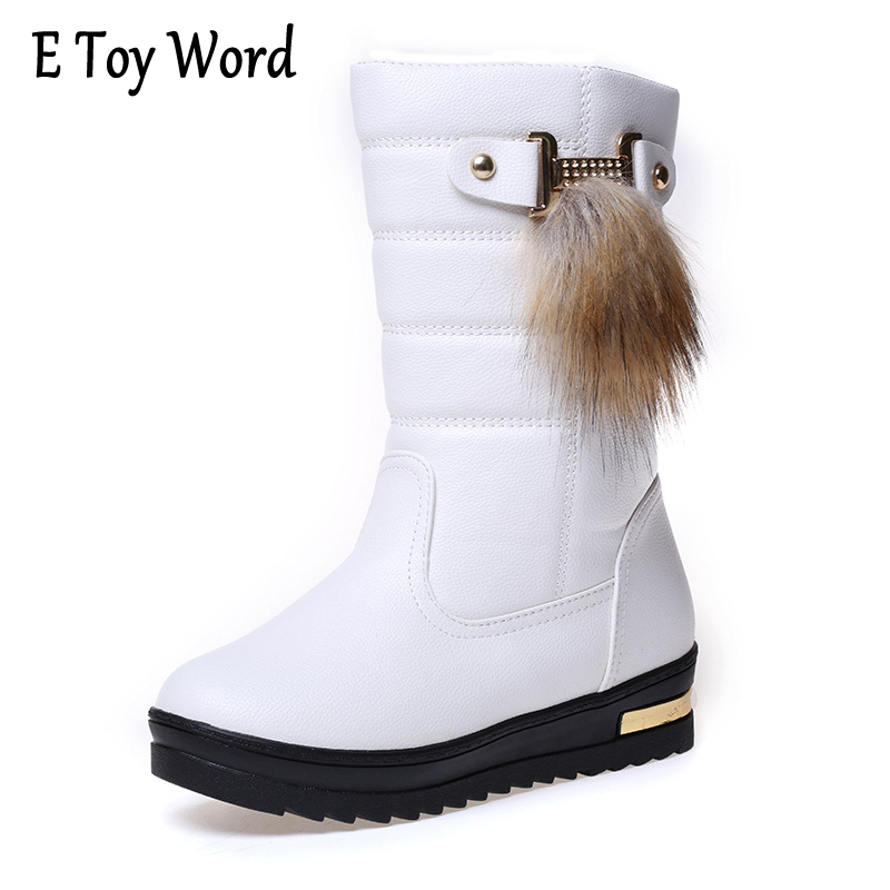 E TOY WORD PU Leather waterproof Women Snow Boots Round Toe Solid Fur Warm Woman Boots Comfortable Wild Casual Women Shoes segal business writing using word processing ibm wordstar edition pr only