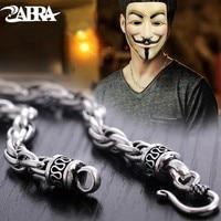 ZABRA 925 пробы серебро Цепочки и ожерелья для Для мужчин Ширина 6 мм 50/55/60/65/70 см ручной работы вода твист длинные цепочка мальчик подарков Байке...
