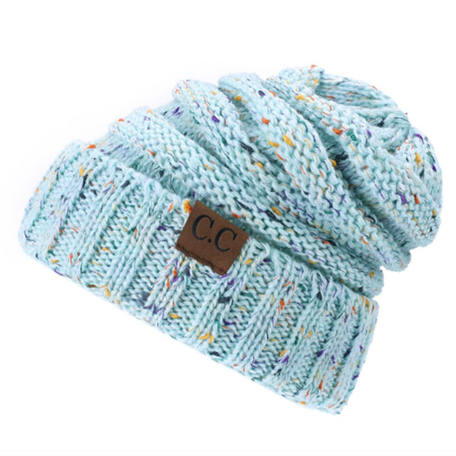 d3a298a14b1 2018 Women Winter Knitted Wool Cap CC Beanies Unisex Casual Hats Caps Men Solid  Color Hip-Hop Skullies Beanie Warm Hat Dropship