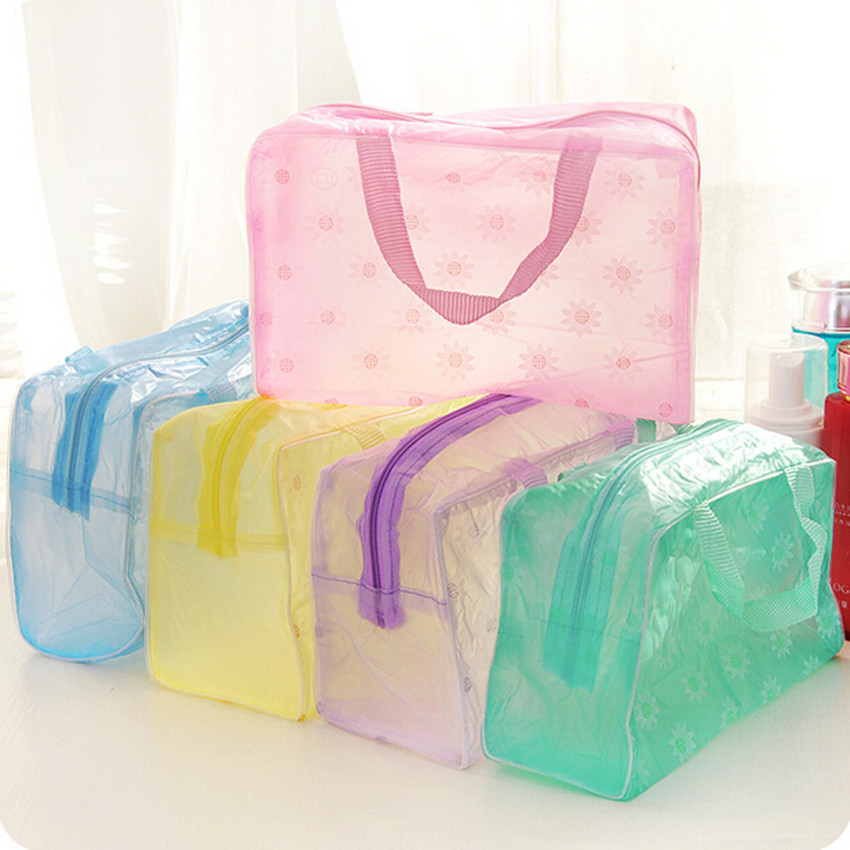 Bag Storage-Bag Make-Up-Organizer Bathing Transparent Waterproof Floral 5-Colors Handbag