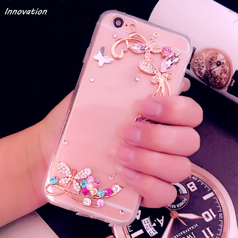 Innovation Phone Cases For iphone X 8 Plus Finger Holders Ring Case 3D Bling Diamond Clear Hard Back Cover For iphone 7 6 6S 5S in Rhinestone Cases from Cellphones Telecommunications