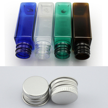 30ml square bottle aluminum Screw cap bottle PET plastic bottle metal lid plasti