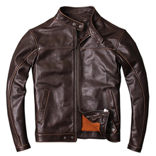 MAXMACCONE 2019 Dark Brown Men Short Biker's Leather Jacket Plus Size XXXL Slim Fit