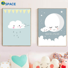 Cartoon Cloud Moon Canvas Painting Wall Art Posters And Prints Nordic Poster Nursery Pictures Kids Room Home Decor