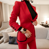 2018 Autumn Winter New Korean Red Slim Business Blazer + Pant 2 Two Piece Set Women Office Lady Notched Jacket Trousers Suits