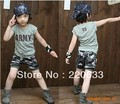 retail 2014 new summer clothing for children/kids boy camouflage sport suit  short sleeve  tshirt+pants set size 100-140