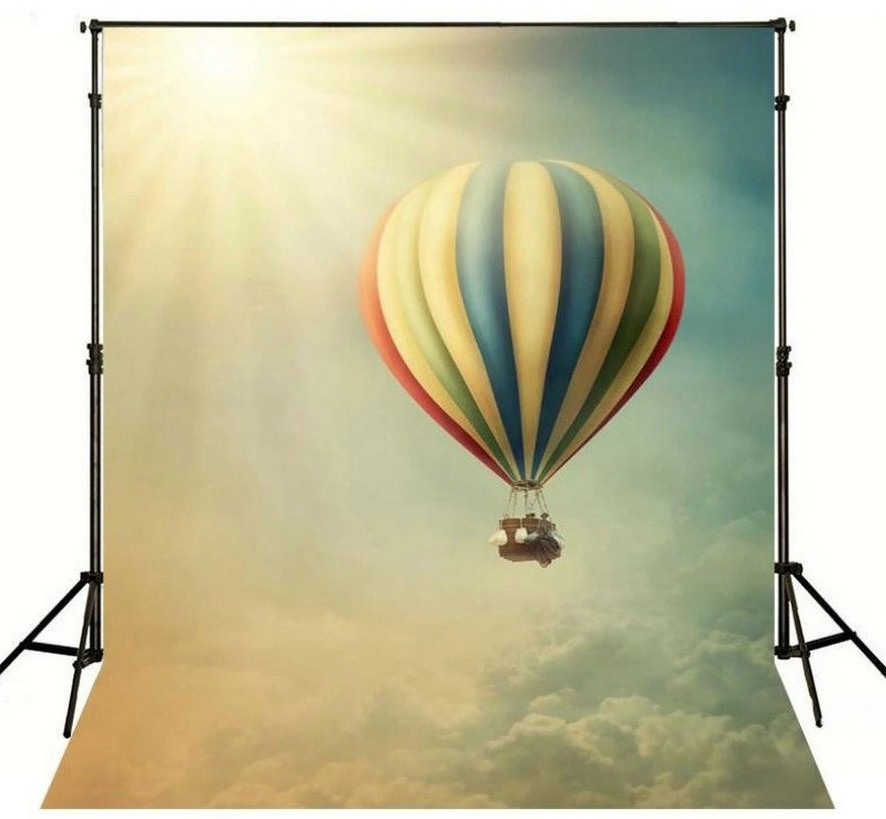 Sunrise Color Hot Air Balloon Blue Sky White Clouds Backgrounds Vinyl cloth High quality Computer Print Scenery backdrop