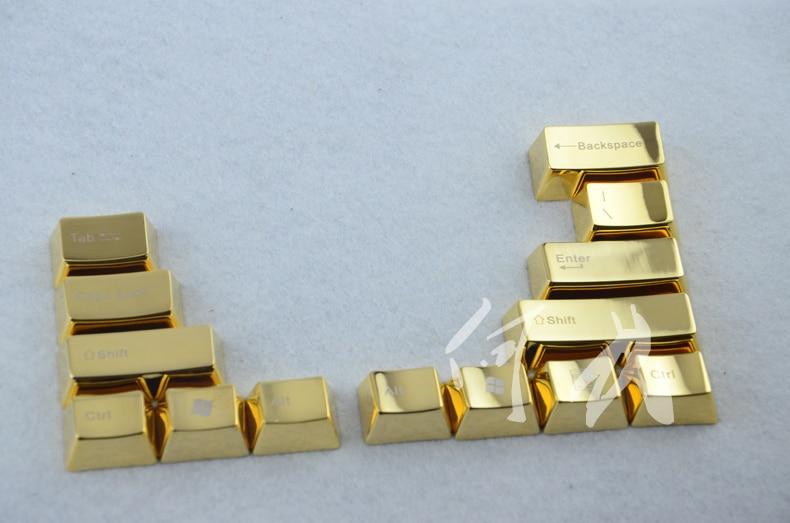 Mechanical keys MKC cherry mx OEM LOL CS GO gaming keycap Gold metal modifier keycap golden aluminum keyboard caps 37 keys ...