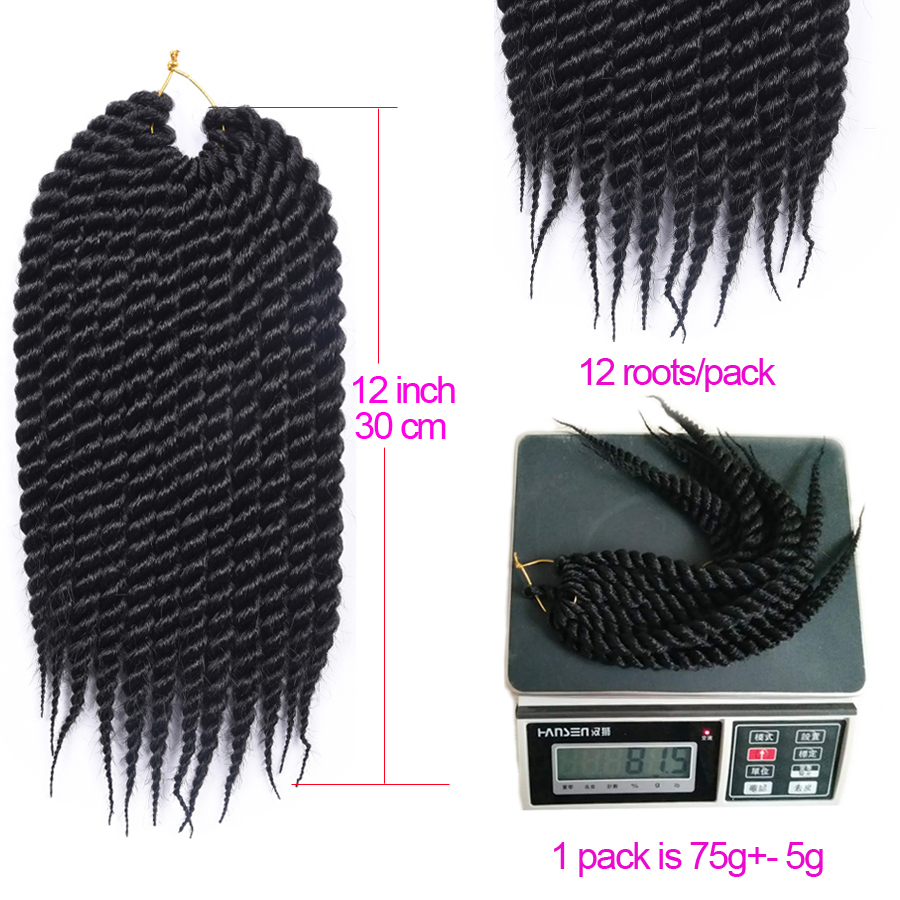 AliRobam Crochet Braids Ombre Braiding Hair Extensions 12Inch 12Strands/Pack Synthetic Senegalese Twist Hair 1-10 Packs