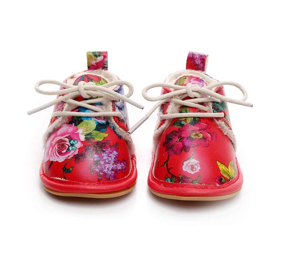 445b2c829 ... 2019 Winter Newborn baby boot Print Flower PU leather Crib Moccasins  Footwear Infant Shoes First Walkers ...