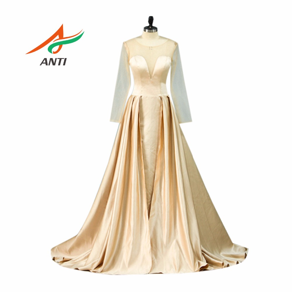 Us 80 85 23 Off Anti Champagne 2018 Mother Of The Bride Dresses With Long Sleeves Vestido De Madrinha Mother Bride Gowns Forma Long Party Gowns In