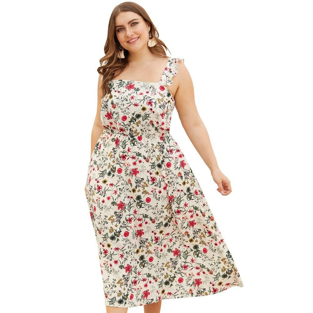 WHZHM Ruffles Strap Dress Backless Sleeveless Flower Printed Dress Women Vestido Party Plus Size 3XL 4XL