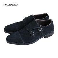 MALONEDA заказ черный Цвет из натуральной кожи замшевые туфли Double Monk ремни ручной работы Goodyear ручной работы Повседневное слипоны обувь