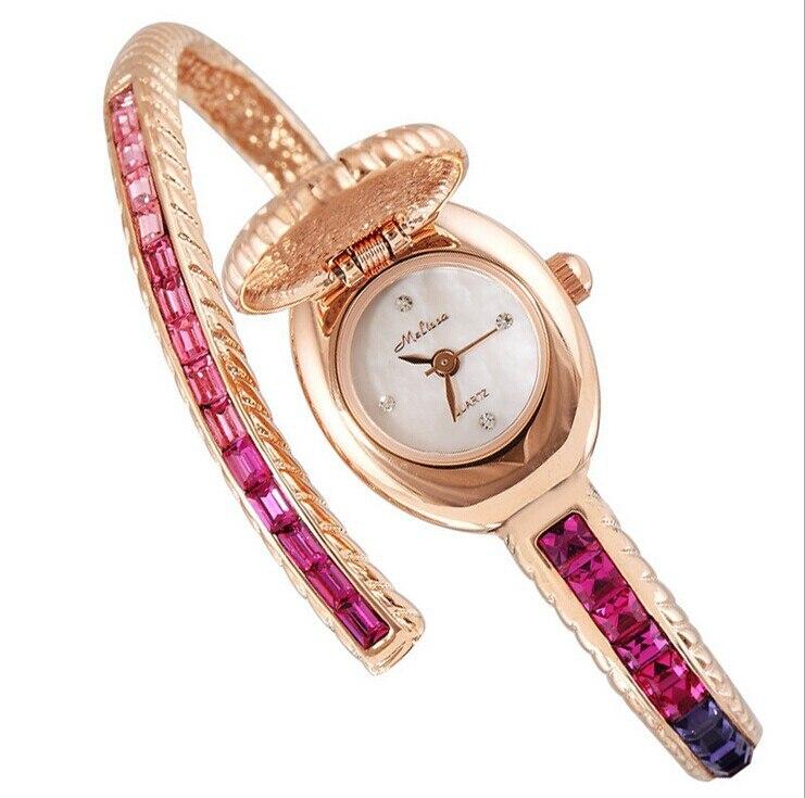 Здесь продается  Super Fashion Flip Bangle Wristwatches Extravagant Rhinestone Watch Women Dress Watches Ultra-thin Twisted Montre Femme F6483  Часы