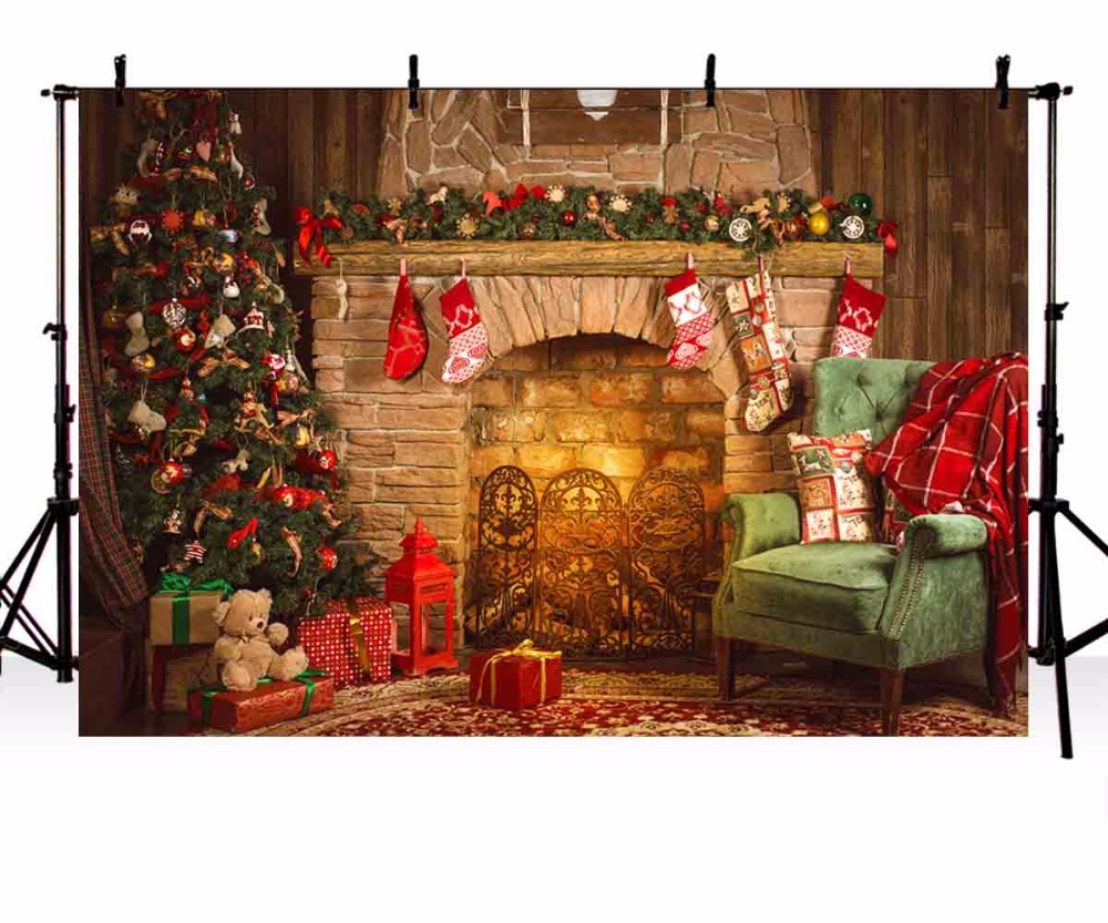Vinyl Photography Background Christmas backdrop Tree Fireplace Gifts Toy Indoor Children Backdrops for Photo Studio ZR-206 цена