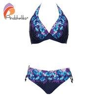 Andzhelika Plus Size Swimwear Bikinis Women Deep V Bikini New Vintage Print Dot Bikini Set Beach