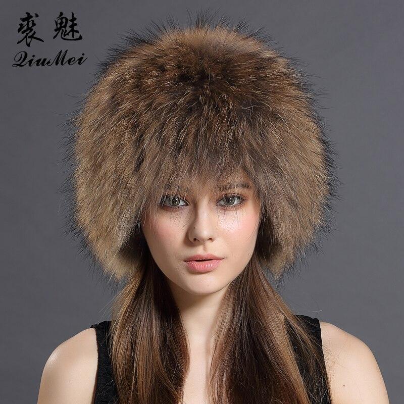 QiuMei Genuine Fox Fur Bomber Hats Winter for Womens Knitting Linied Cap Russian Real Raccoon Fur