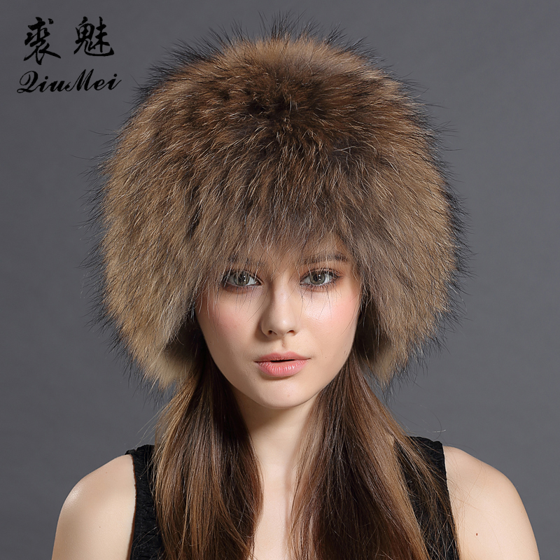 QiuMei Genuine Fox Fur Bomber Hats Winter for Womens Knitting Linied Cap Russian Real Raccoon Fur Trapper Bomber Hat Natural Fur