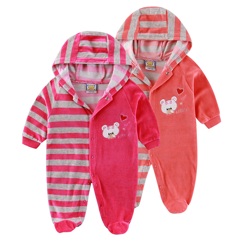 2017 Autumn Winter Velour Baby Clothing Buckle Front