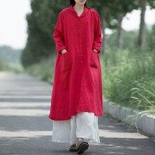 Для женщин длиной макси платье плюс Размеры с длинным рукавом отложным воротником и пуговицы давно закончилась Размеры Для женщин Платья для женщин Повседневное veatidos