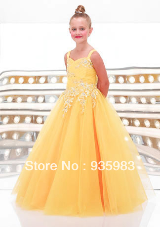 Yellow Fashion A-line Fashion Lace Beaded Pregeant Cheap Fashion Lovely Bridal Flower Girl dresses toddler pageant gowns