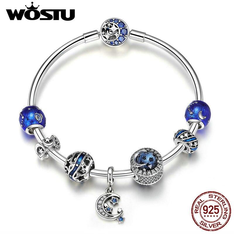 WOSTU Vente Chaude 925 Sterling Silver Moon & Stars Bleu Ciel Charme Bracelet Pour Les Femmes D'origine Perles Bijoux Amant Cadeau CQB801