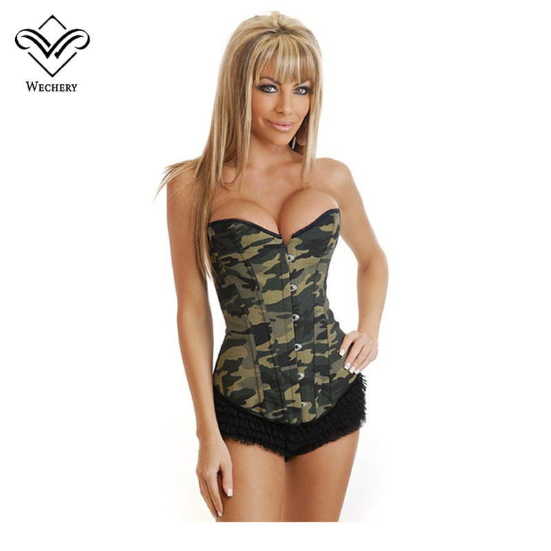 Wechery   Corset   Steampunk   Corsets   and   Bustiers   Gothic Sexy Lingerie Green Corsete Overbust Camouflage Straps Corselet for Women