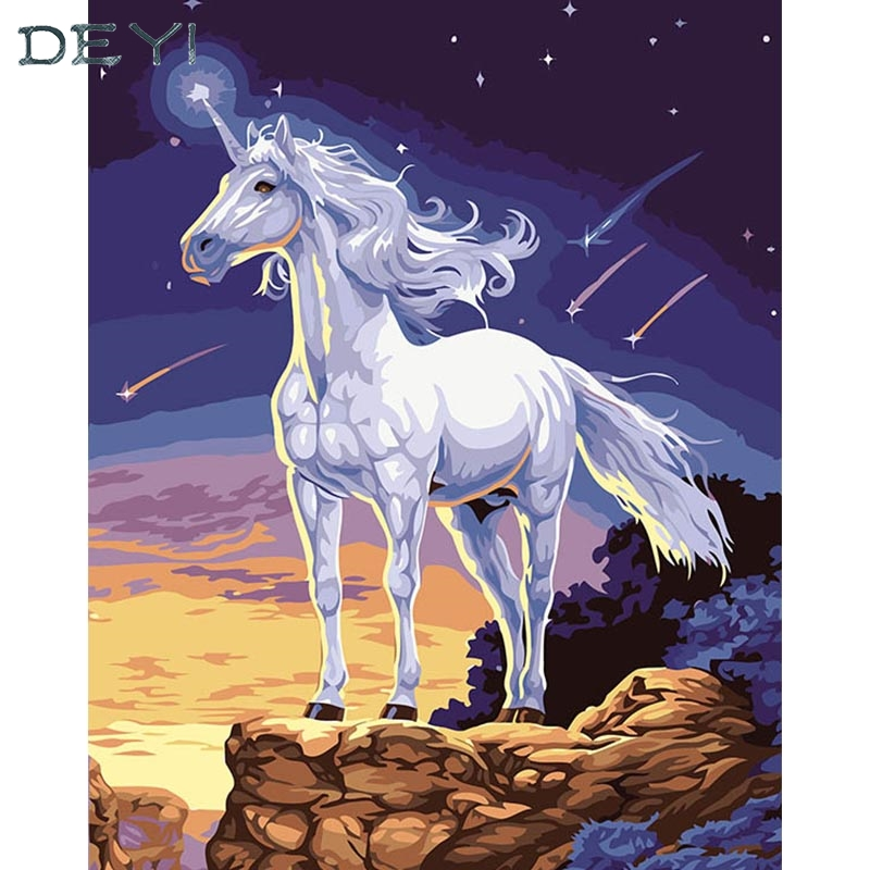 40*50cm Painting Hand Oil Decorative Pegasus Linen Canvas Framed Mirrors Wall Art For Living Room 4050081