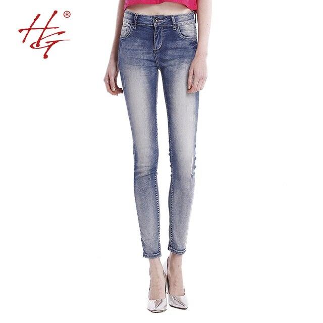 HG # S09 2016 весна стиль высокой упругой узкие джинсы женщина среднего талия узкие джинсы ноги женские старинные разорвал джинсовые брюки ПЛЮС РАЗМЕР