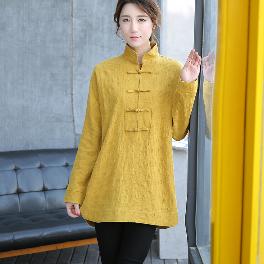 Vintage printemps automne femmes blouses Jacquard haut femme vêtements coton lin blouse dames longs hauts pour les femmes blusa de renda