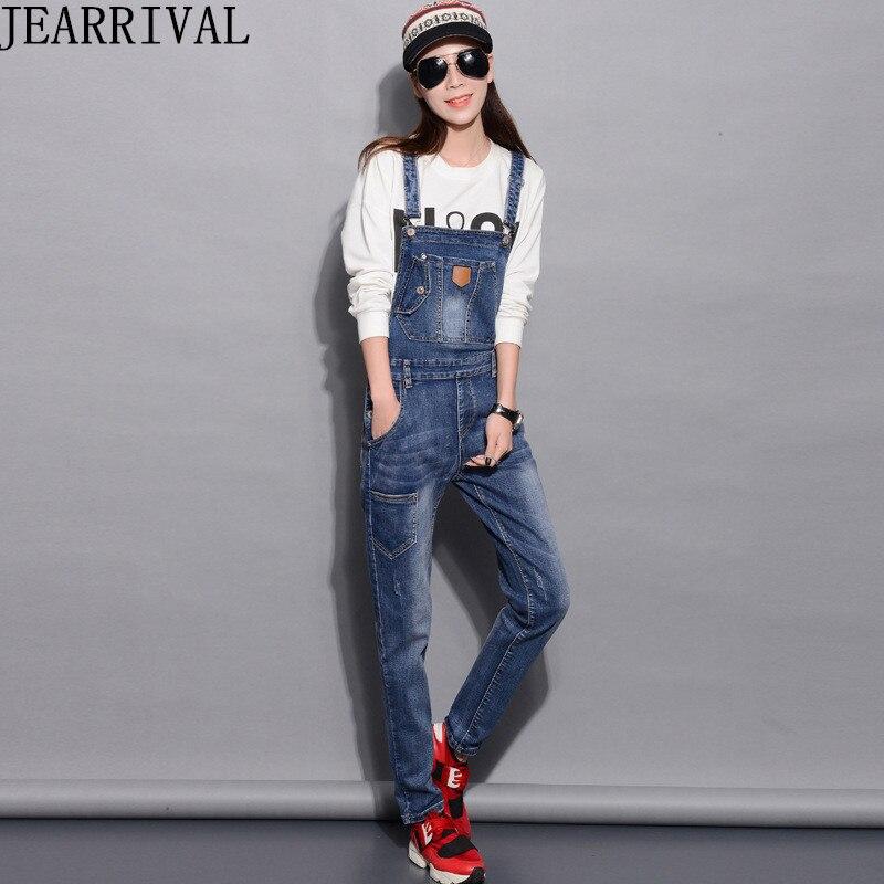 2019 New Spring Fashion Denim Jumpsuit Women Casual Slim Overalls  Long Jeans Pants Trousers Female Pockets Romper Jumpsuits