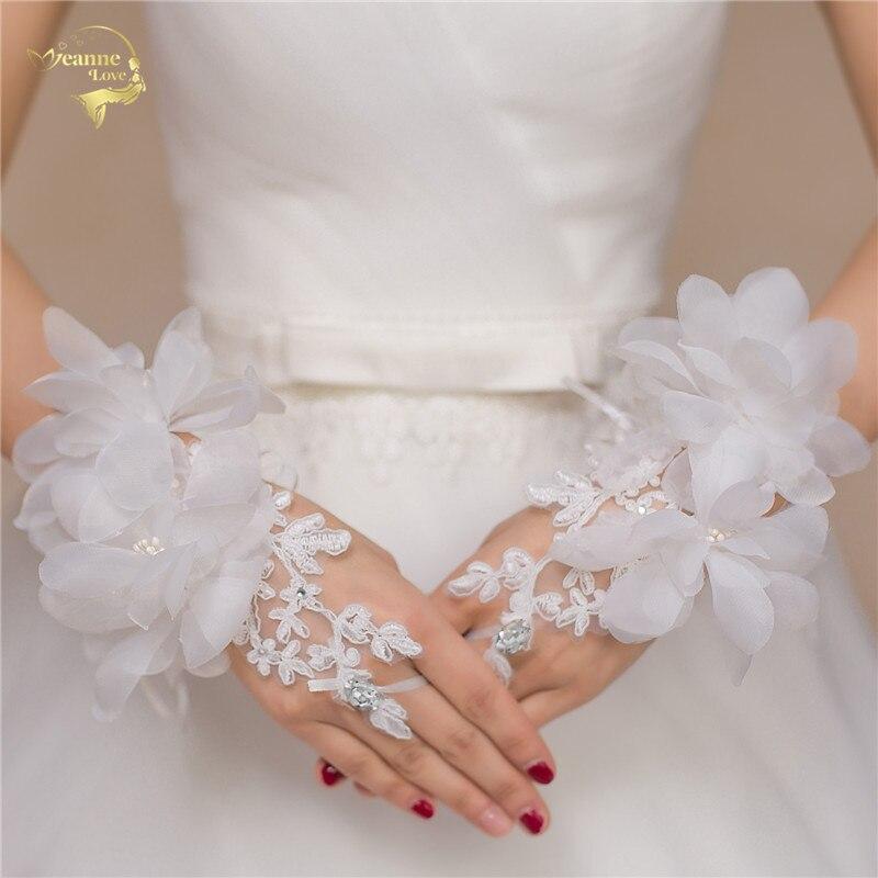 Rouge Beige Gants De Mariée De Mariage Gants Court Conception Fleur diamant Décoration Style Gants G031
