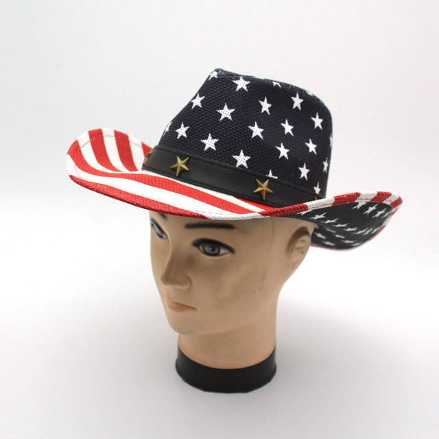 f1d986c5c4b Welcomed Panama Straw Hats Summer Beach Mexican Cowboy Hat with USA Flag  Print Logo Hi-Q Western Cowgirl Hat GH-340