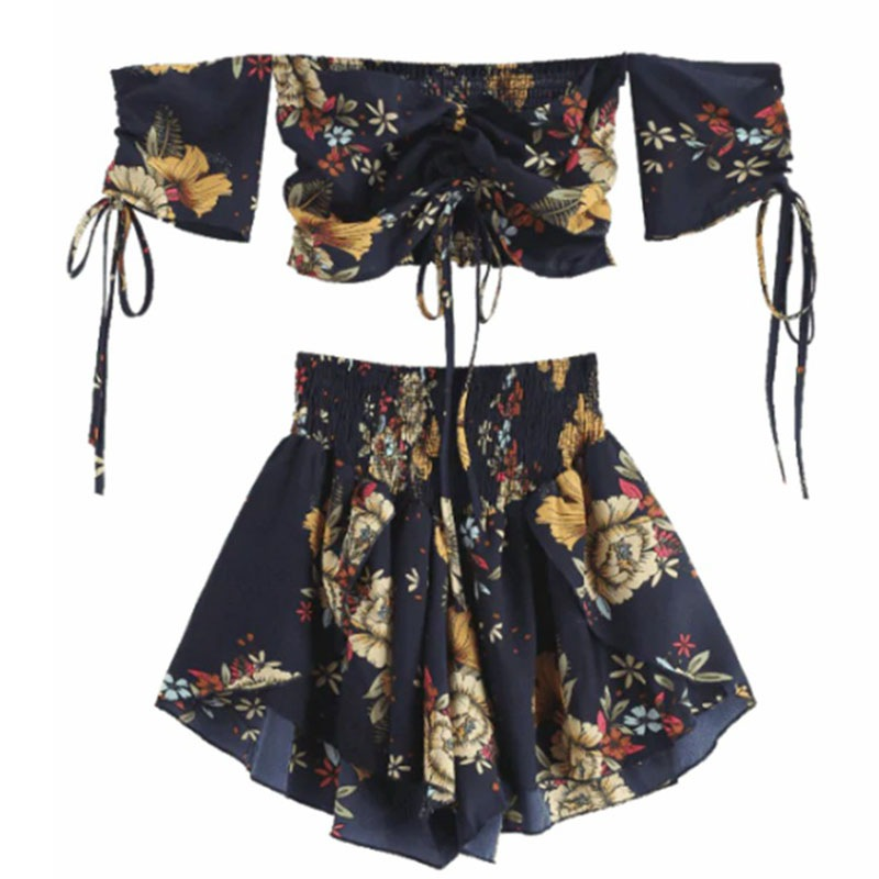 Off Shoulder Cinched Floral Women Set Slash Neck Short Sleeves Crop Top High Waist Shorts Set Beach Boho Suits Summer