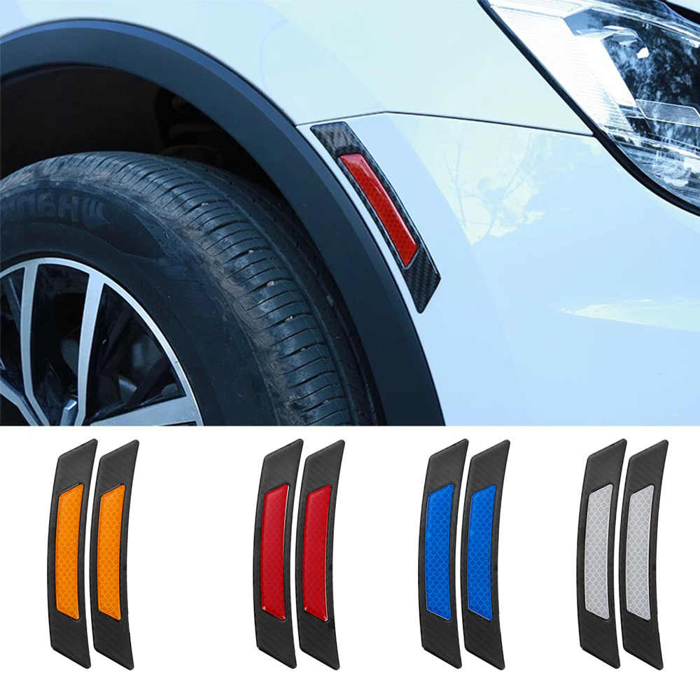 2 個の炭素繊維保護車のバンパーストリップホイール眉毛エッジ反射警告ステッカーガードステッカーホットカーアクセサリー