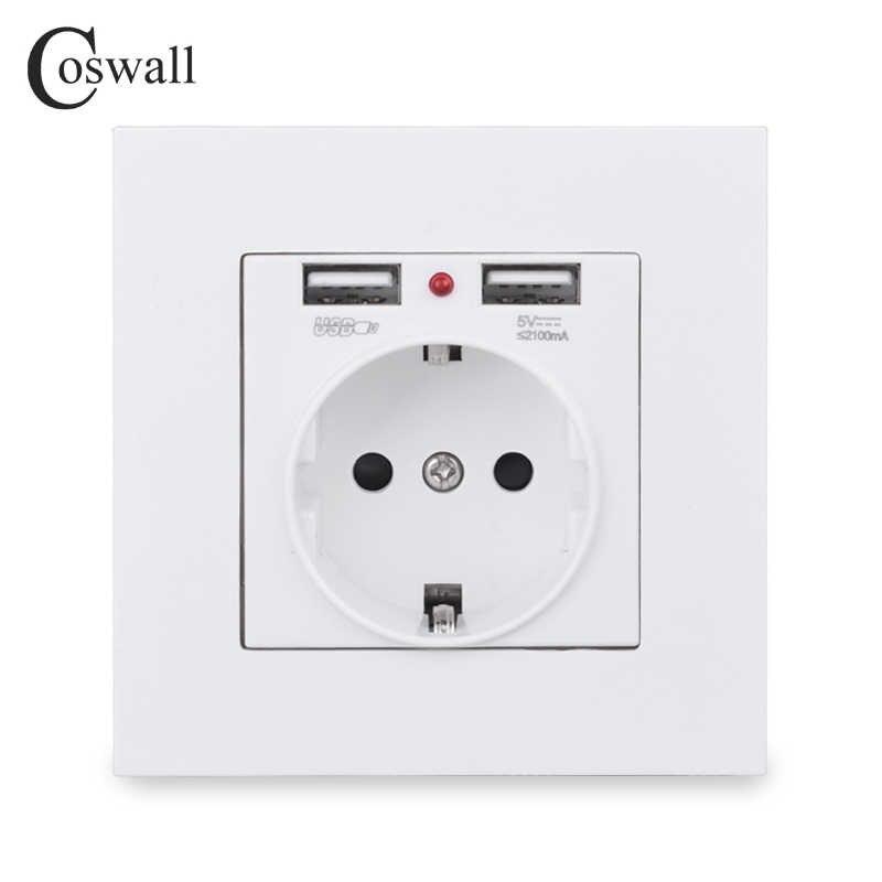 COSWALL 벽 소켓 접지 어린이 보호 문, EU 러시아 2.1A 듀얼 USB 충전 블랙 화이트 PC 패널 스페인 콘센트
