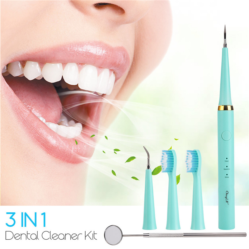 Teeth Cleaning Tools Home Dental Care Kit Electric Toothbrush Cordless Dental Calculus Remover Blue with Mouth Mirror 3 Gears 36
