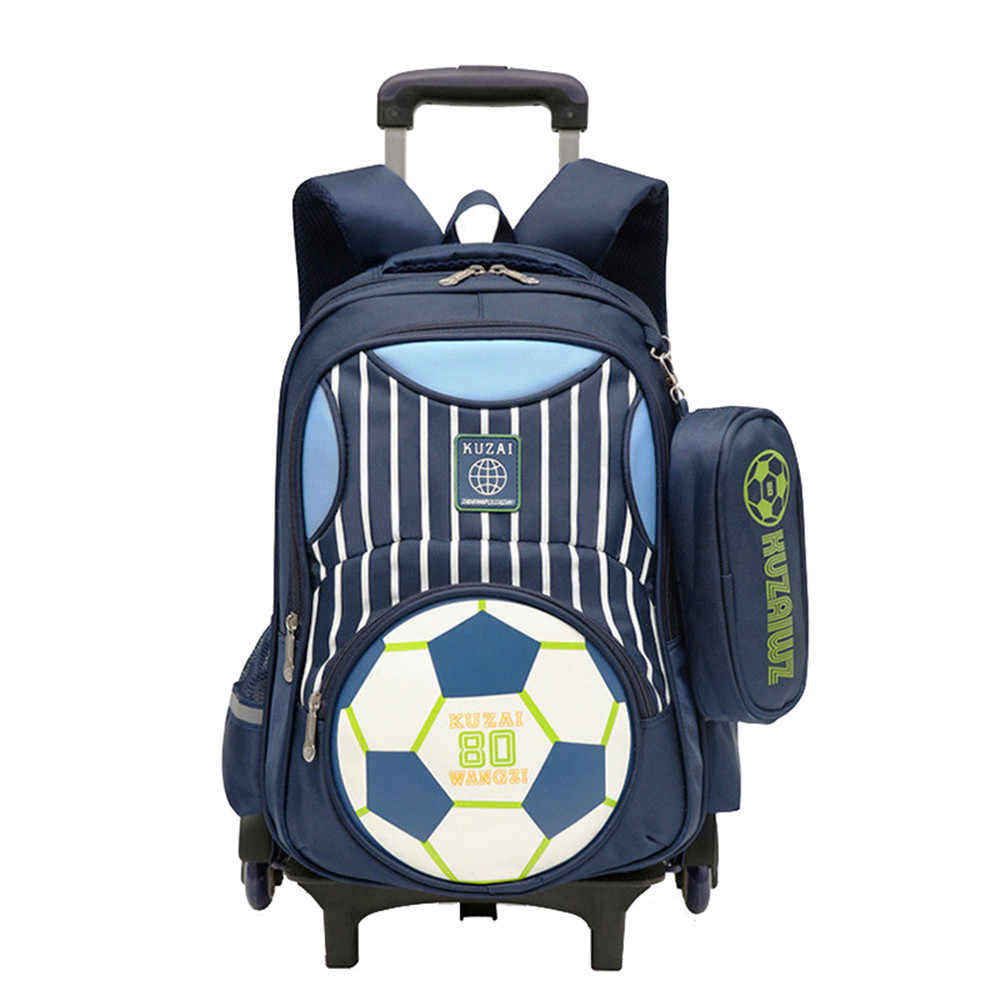 Kids Boy Rolling Schoolbag Bookbag Trolley Bag Luggage Wheels Backpack travel