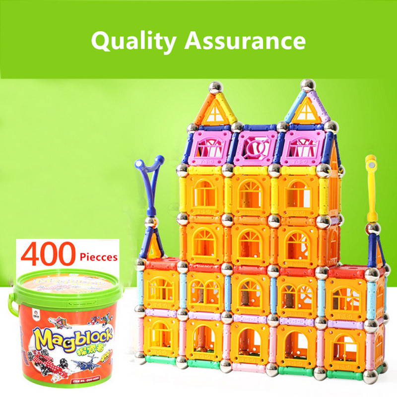 Tensoger 400 Pics Magnetic Stick Childrens Educational DIY Toys Magnet Building Blocks Magnetic Patch Gift for Girls Boys ...