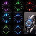 Ohsen impermeable negro cuarzo reloj de pulsera deportivo de color de luz led unisex oh01