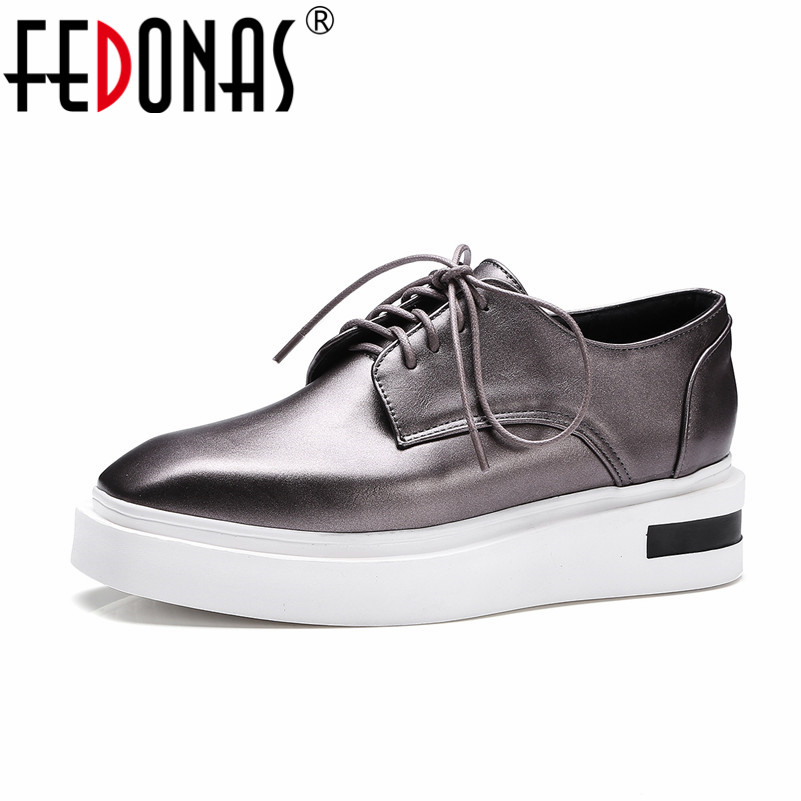 FEDONAS New Spring Autumn High Platforms Shoes Women Flats Fashion Lace Up Shoes Quality Woman Round Toe Ladies Casual Shoes new spring autumn women shoes pointed toe high quality brand fashion ol dress womens flats ladies shoes black blue pink gray