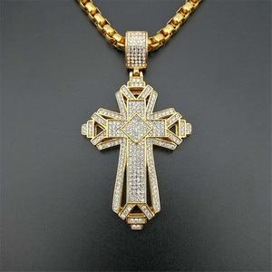 Image 3 - 2019 neueste Iced Out Edelstahl Big Kreuz Anhänger Halskette für Männer Gold Farbe Christian Cruzar Halskette Religiöse Schmuck