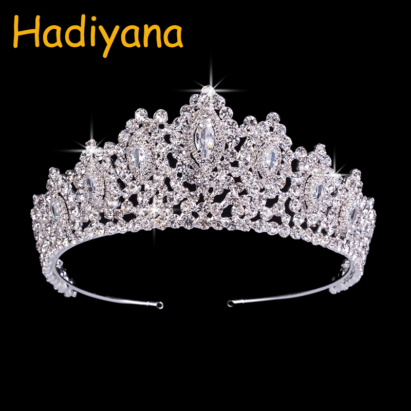 Hadiyana New AAA Rhinestone Crowns Vintage Style Big Eye Shape Wedding Accessories Bridal Hair Tiaras Yellow Gold Party BC3707