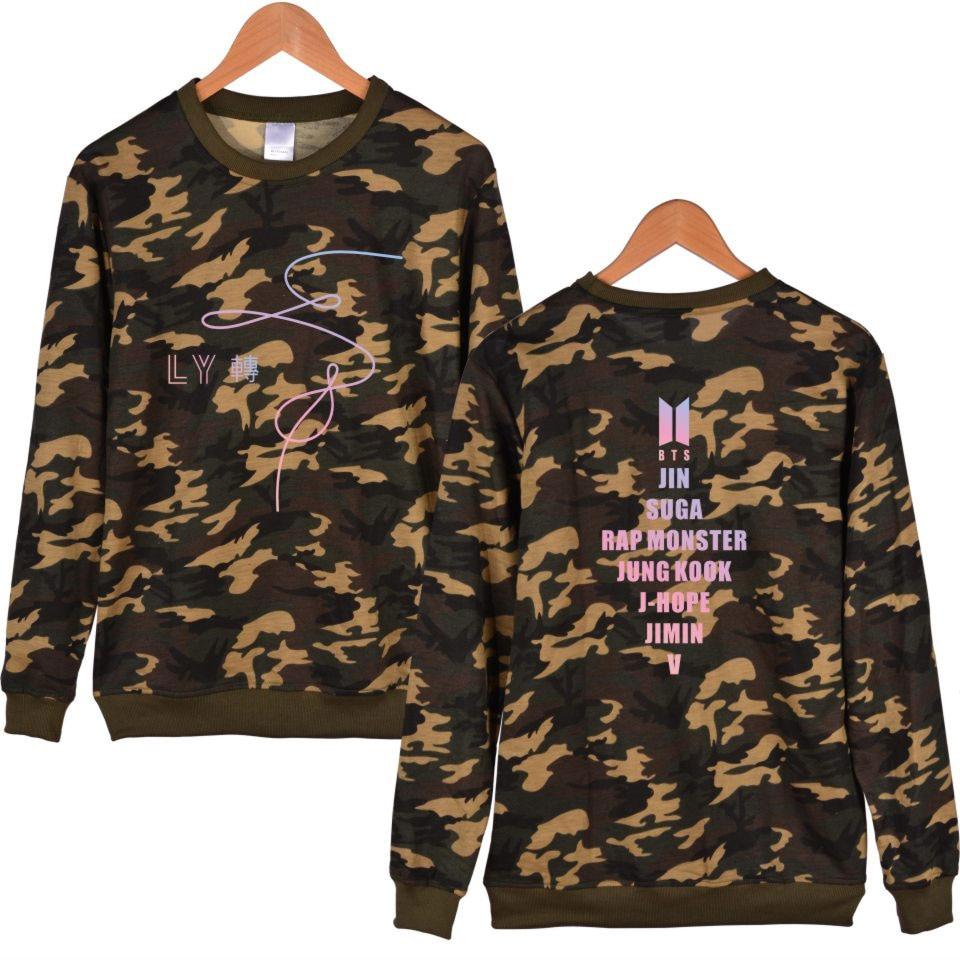 2018 BTS Love Yourself Hooded casual Camouflage Hoodies sweatshirts Bangtan Fashion colorful Men and Women Sweatshirt