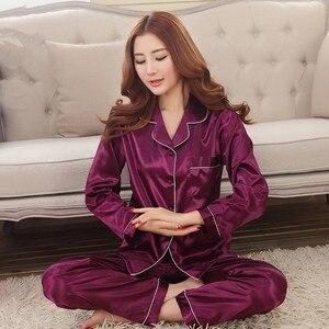 Image 2 - 2019 Yeni Varış Sonbahar Kadın Ipek Pijama Setleri Uzun Kollu Pijama Takım Elbise 2 adet Pijama V Yaka Nefes Pijama Gecelik