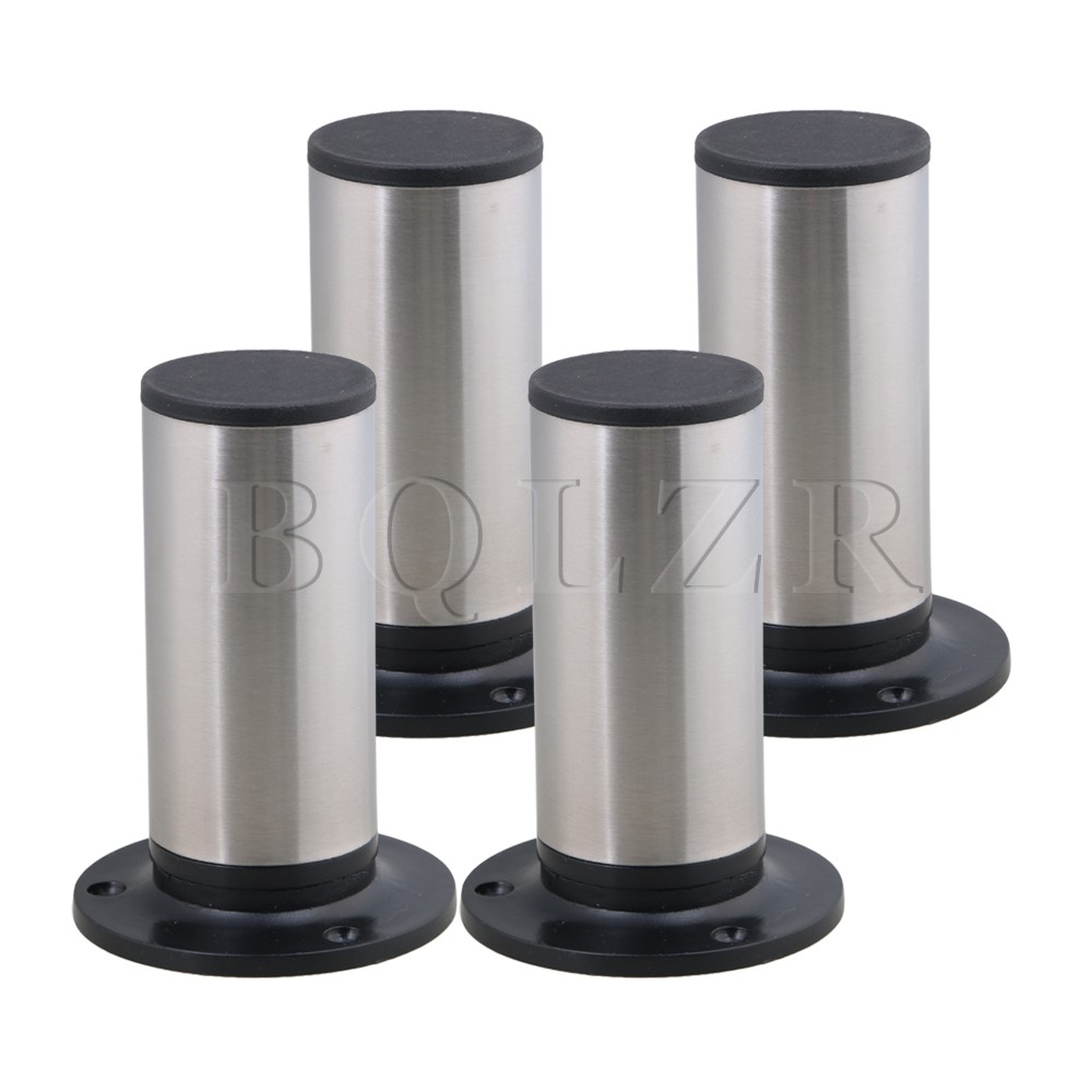 BQLZR 4PCS 120x85mm Round Silver Black Adjustable Stainless Steel Plastic Furniture Legs Sofa Bed Cupboard Cabinet Table Feet halloween plastic skeleton frame hanging decoration silver black 4 pcs