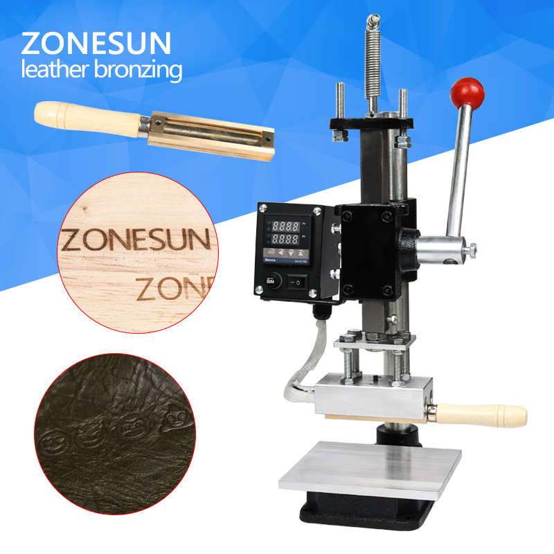 ZONESUN Hot Foil Stamping Machine Manual Bronzing Machine for PVC Card leather and paper stamping machine gilding press bronzing hot foil stamping machine