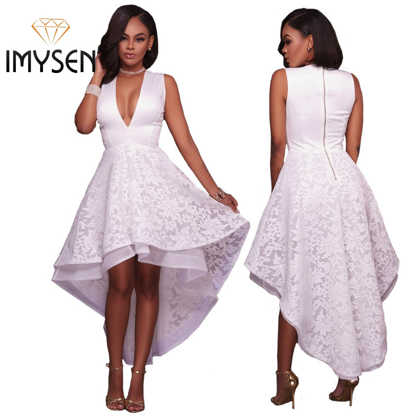 3 Colors IMYSEN 2017 Summer Dresses Fall Sexy V Collar Big Swing Lace Dress Solid White Red Black Front Short Back long Zipper