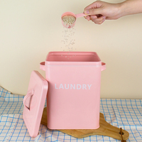 New Large Laundry Powder Bucket Tin Rice Bucket Pet Food Pot Mouldproof Seal Barrels with Small Spoon Cat Dog Food 5L